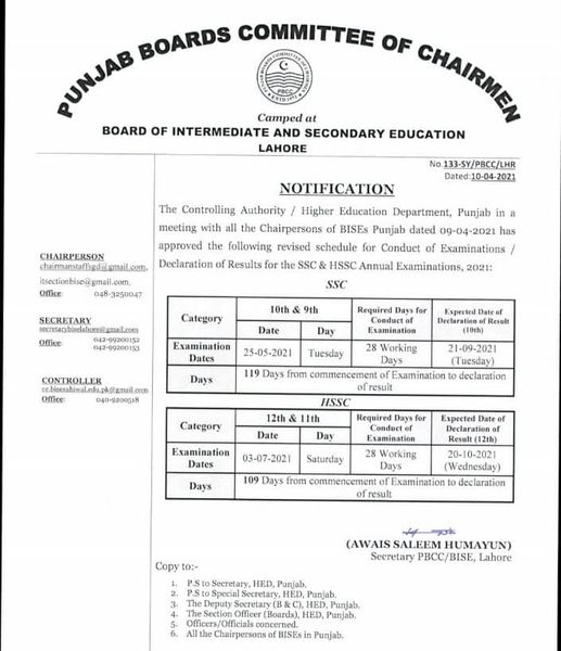 Final Revised Dates for Annual Exams 2021 (SSC&HSSC) Punjab Boards
