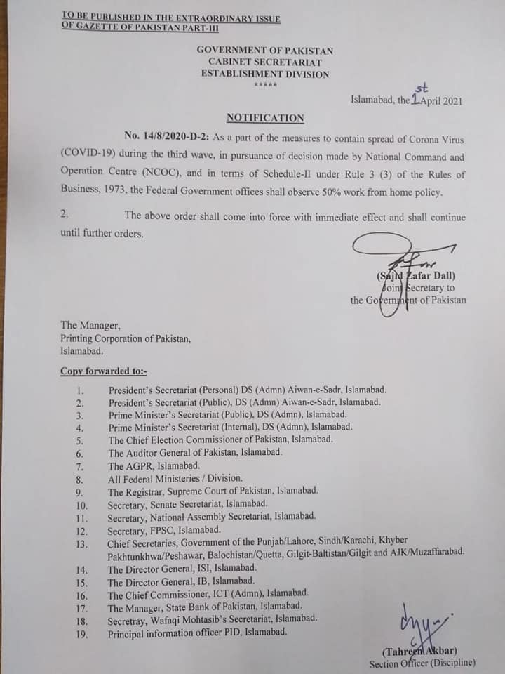 Notification of 50% Work from Home Policy for Offices of Federal Govt