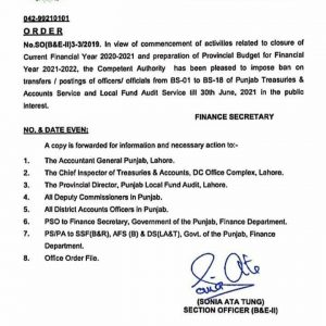 Notification of Ban on Transfer Posting BPS-01 to BPS-18