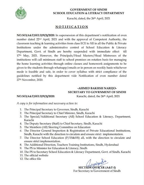 Notification of Closing Educational Institutions April 2021 in Sindh