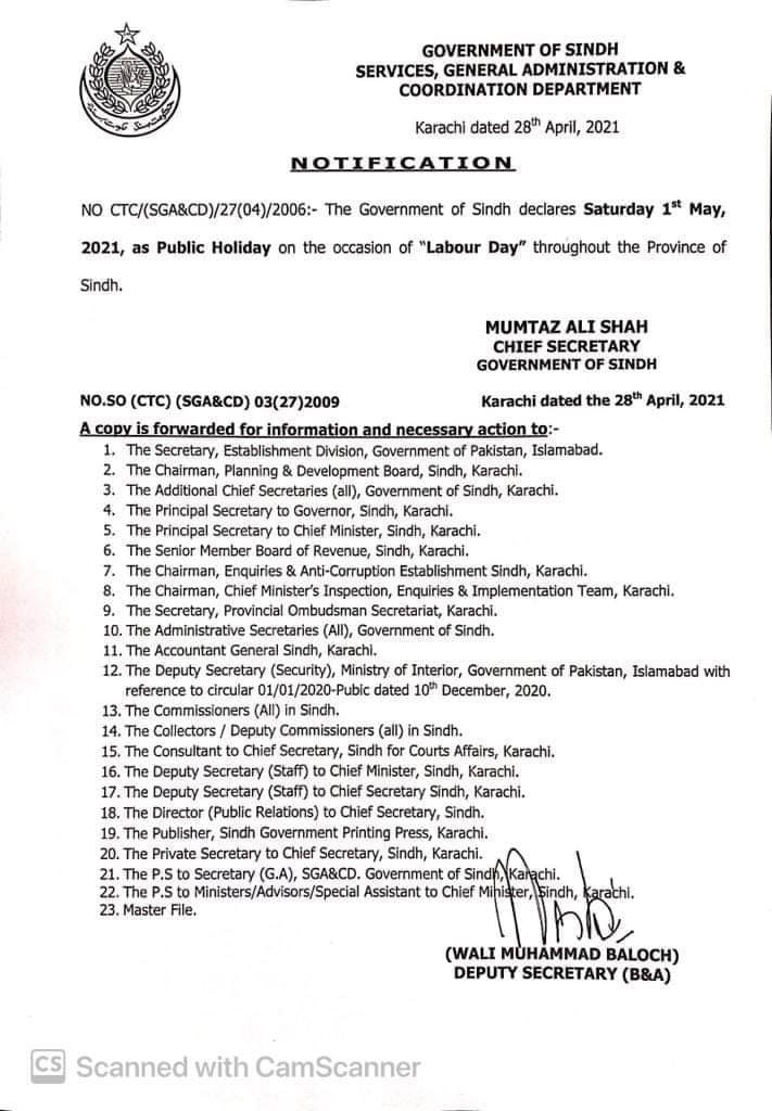 Notification of Holiday on 1st May 2021 in Sindh
