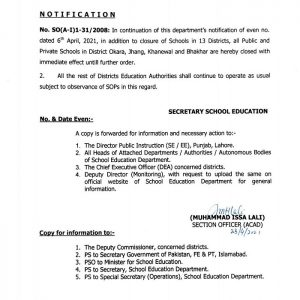 Notification of Once Again Closing of Schools in Punjab Including More Districts