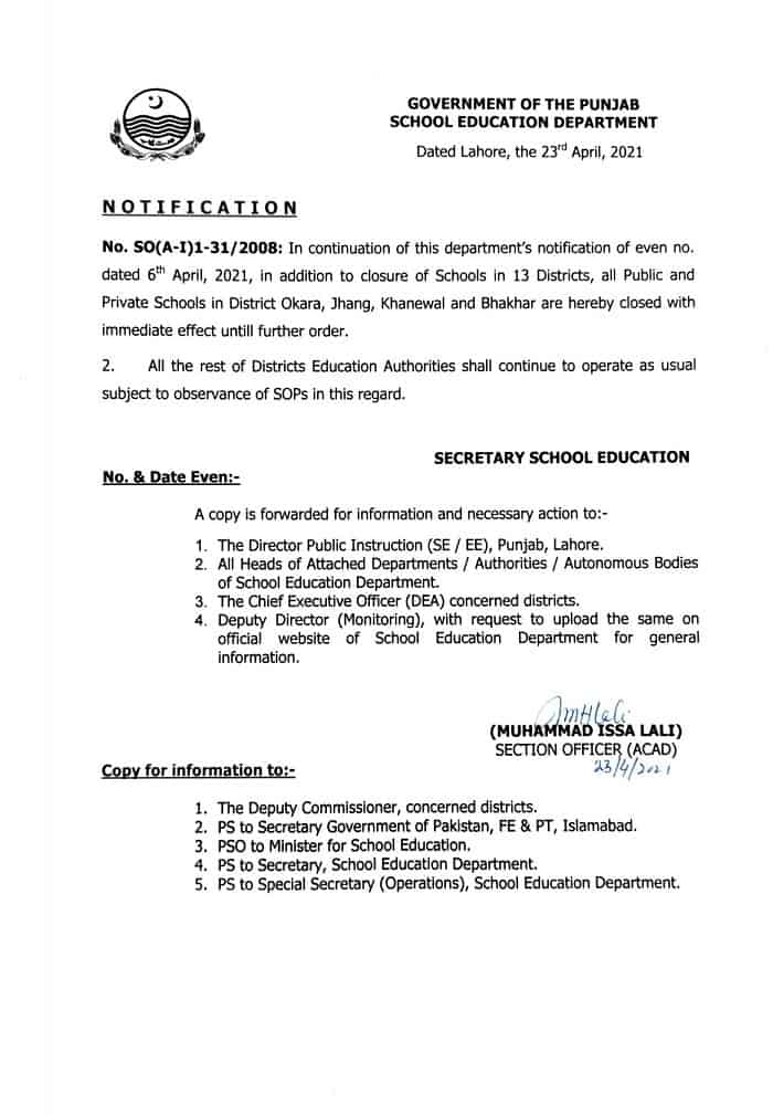 Notification of Once Again Closing of Schools