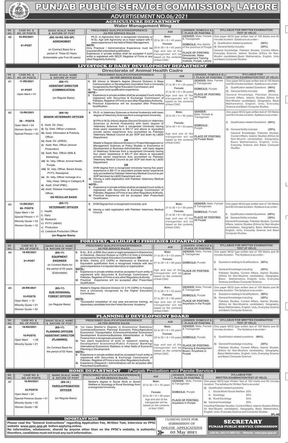 PPSC Jobs April 2021 in Home Department