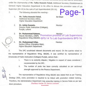 Promotion of Lab Supervisors (BPS-14) to the Rank of Lab Superintendents (BPS-16)