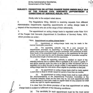 Promotion on Acting Charge Basis under Rule 10-A