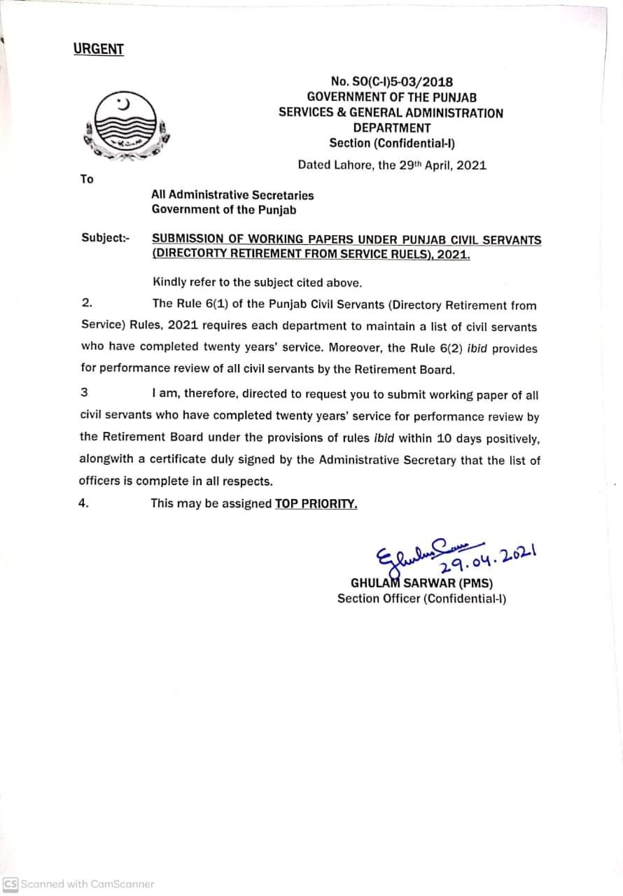 Submission of Working Papers Under Punjab Directory Retirement (20 years Service)