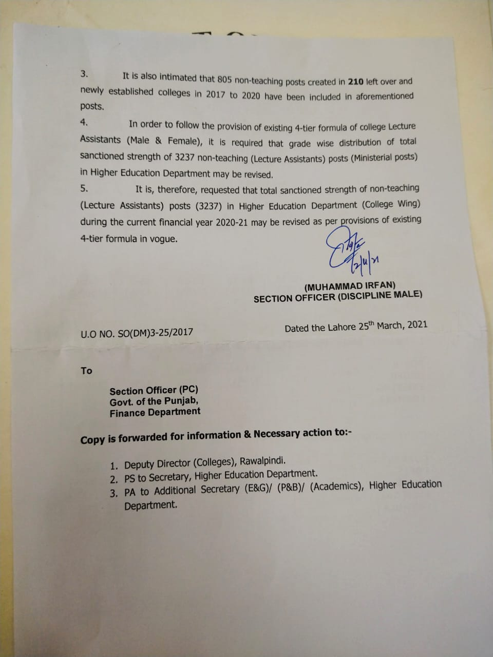 Upgradation of Posts of Lecturers Assistant HED