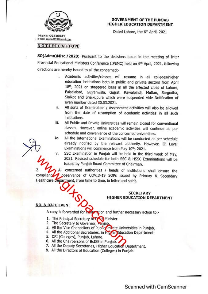 Notification of Schedule of Annual Exam 2021 and Holidays by HED Punjab