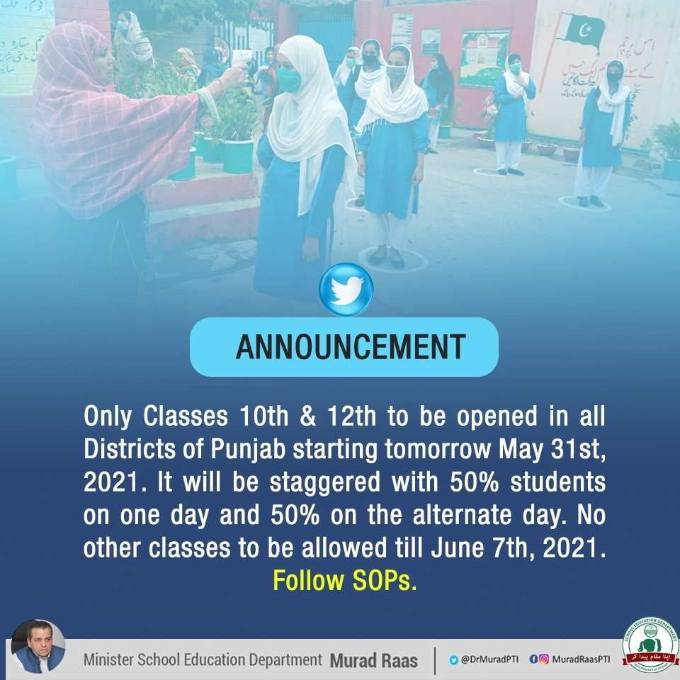 Punjab 10th and 12th Class Opening