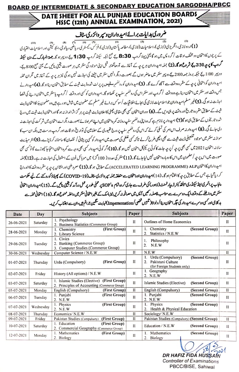 Date Sheet SSC and HSSC Annual Exams 2021 Punjab Boards (Tentative)