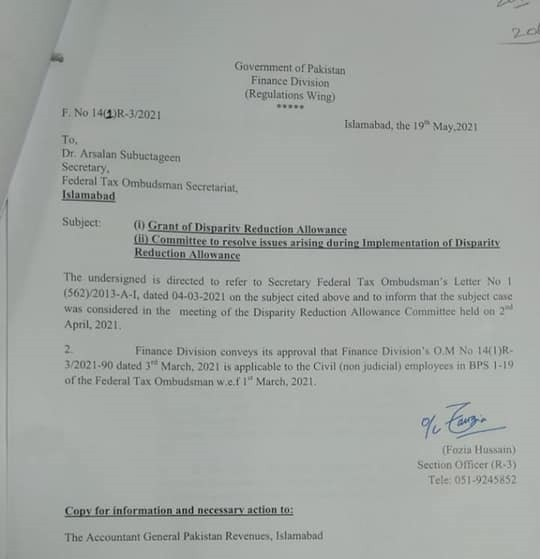 Employees of Federal Tax Ombudsman Civil (non-Judicial) DRA