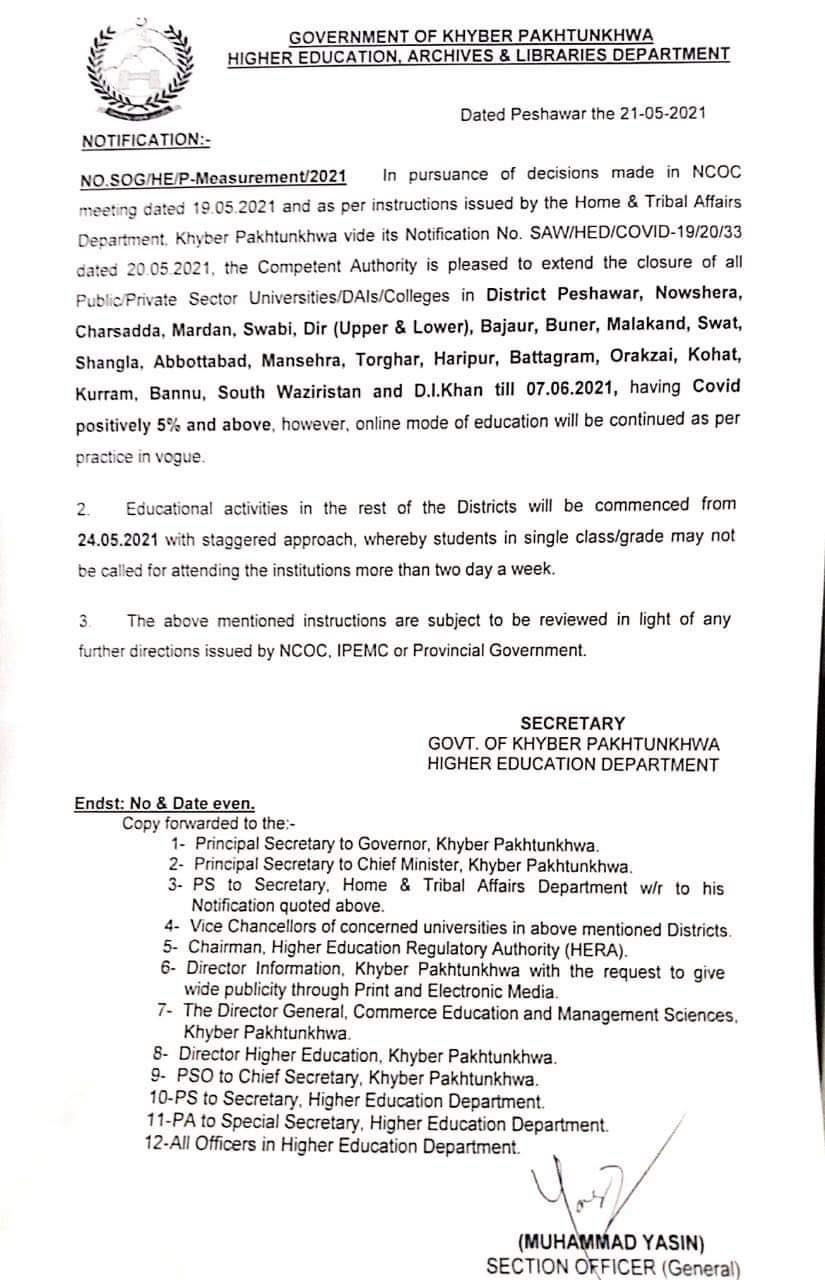 Extension Closure of Educational Institutions till 7th June 2021