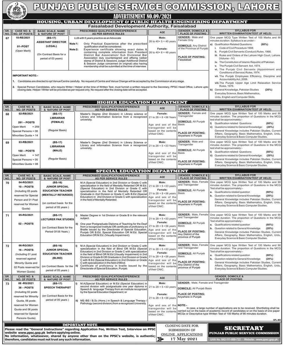 Librarians and Teachers Vacancies in Education Department through PPSC