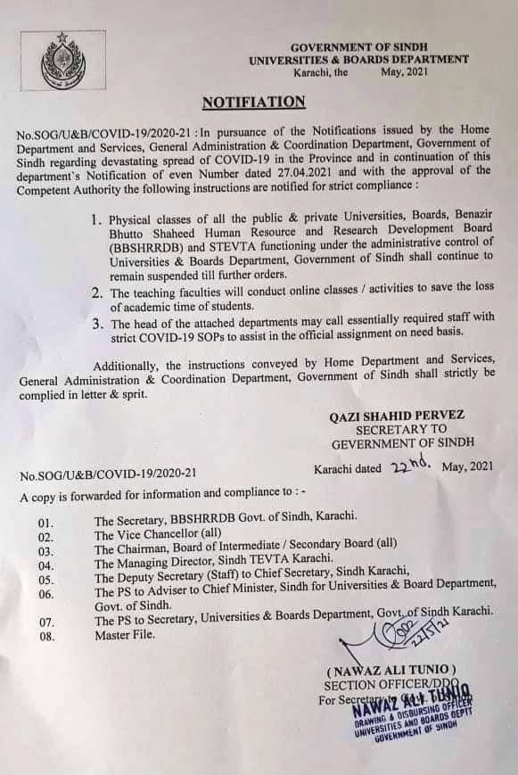 Notification of Extension Closure Educational Institutions Sindh Province