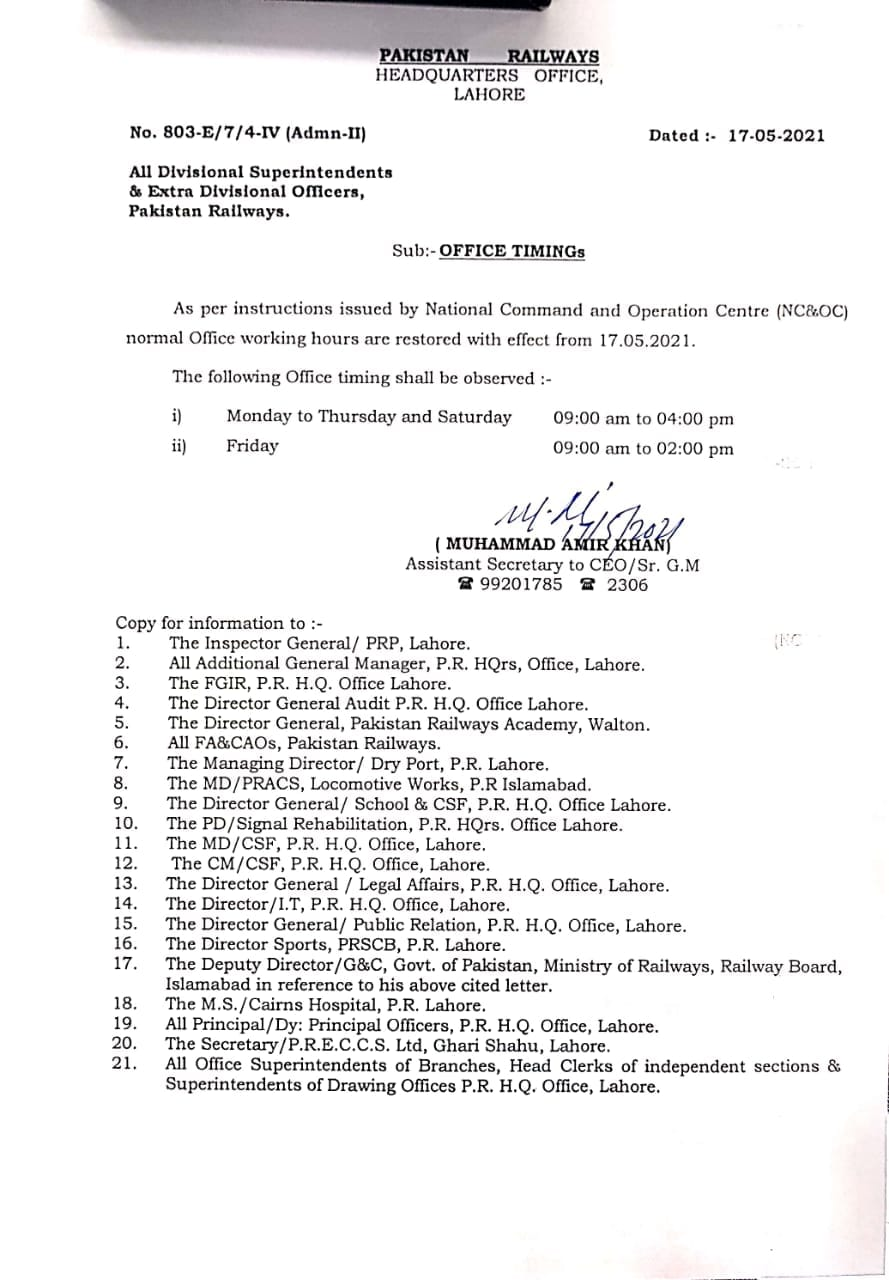 Office Timings After the Holy Month of Ramzan 2021 by Pakistan Railways