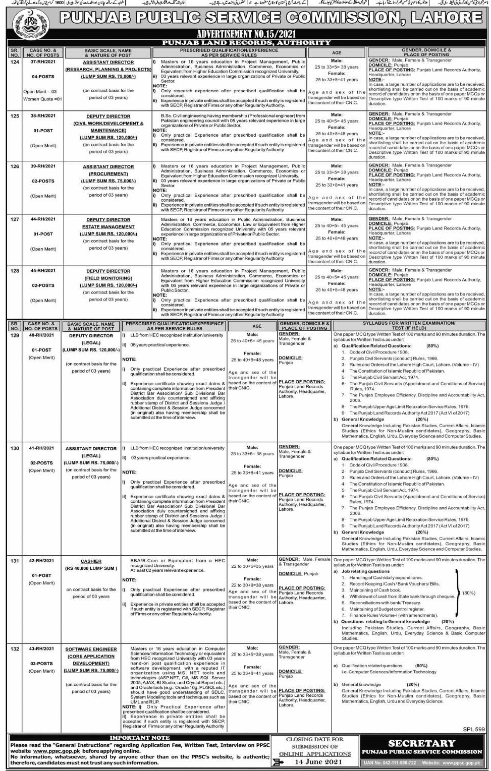 PPSC Jobs 2021 in Punjab Land Records Authority
