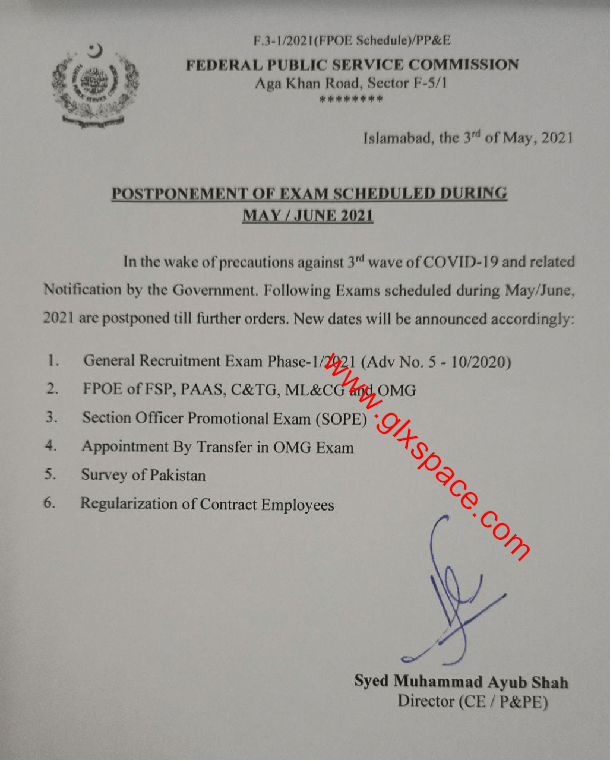 Postponing Regularization of Contract Employees Exams and Others FPSC