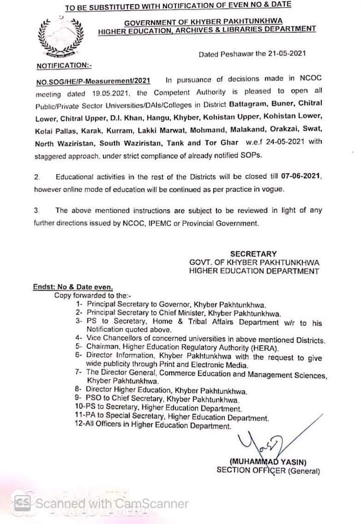 Revised Notification Regarding Opening of Educational Institutions wef 24th May 2021