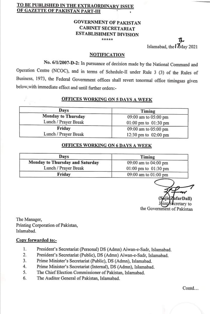 Revised Office Timing 2021 After Eid-ul-Fitr