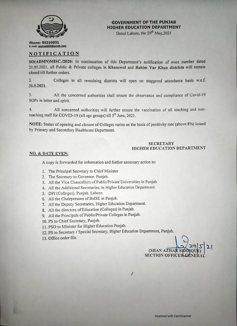 Closing of Colleges in Khanewal and Rahim Yar Khan