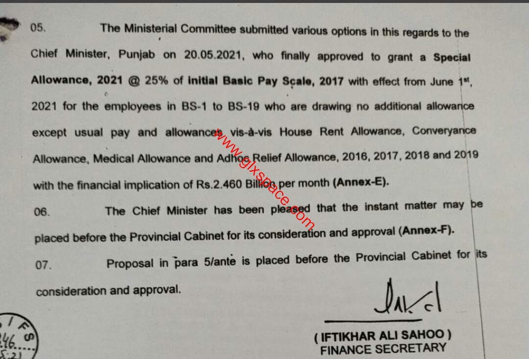 25% Special Allowance Punjab on Initial of Revised Pay Scales 2017