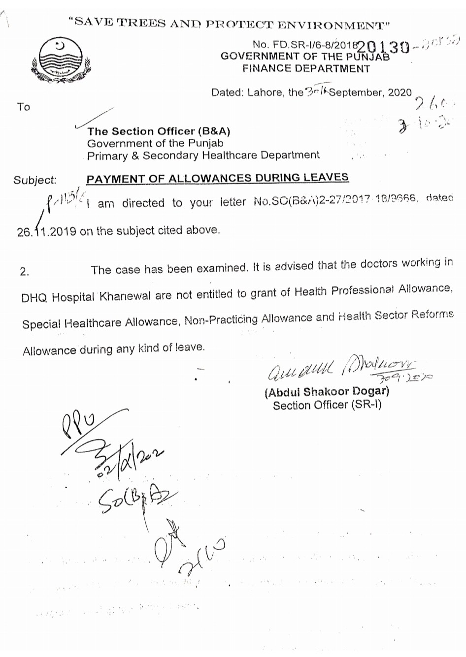 Clarification Payment of Allowances during Leaves Medical Staff
