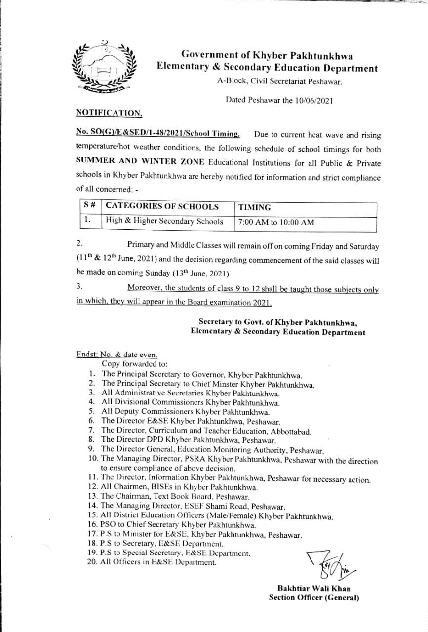 Closing Primary and Middle Classes & School Timings KPK