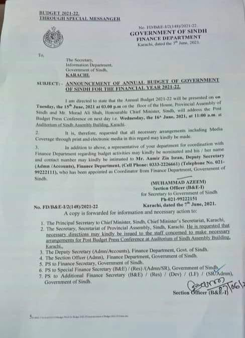 Date of Announcement Sindh Govt Budget 2021-22