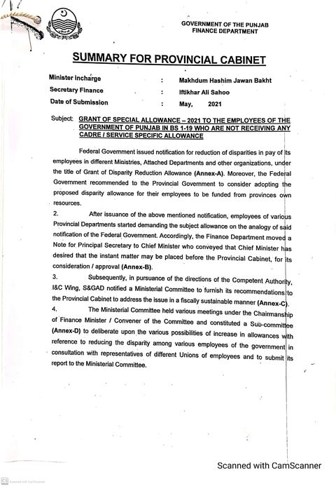Grant of Special Allowance 2021 Punjab BPS-01 to BPS-19 Summary