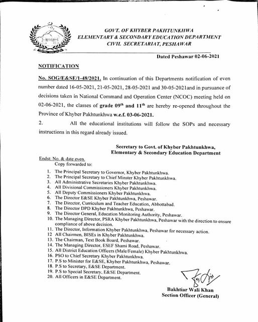 Notification of Opening Class 9th and 11th wef 3rd June 2021 KPK
