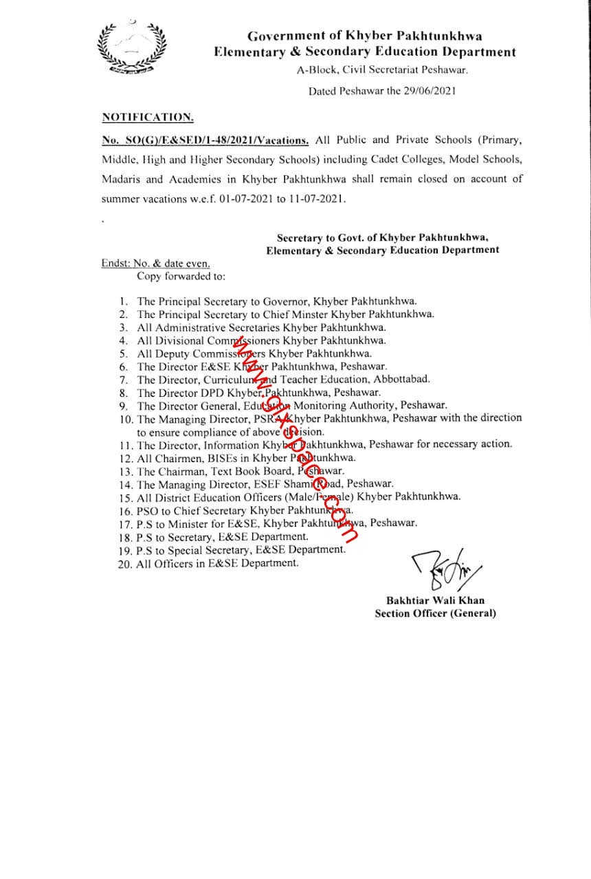 Notification of Summer Holidays (Vacation) wef 1st July 2021