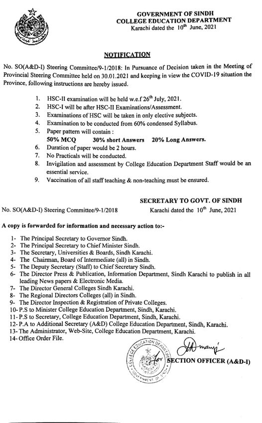 Paper Pattern & Schedule of SSC and HSC Annual Exams 2021 Sindh