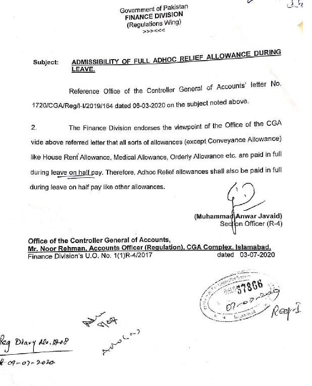 Payment of Full Allowances during Leave on Half Pay
