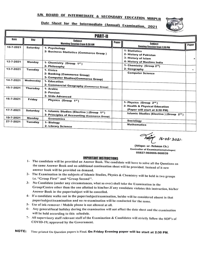 Revised Date Sheet 1st Year and 2nd Year (HSSC) 2021 AJK Board