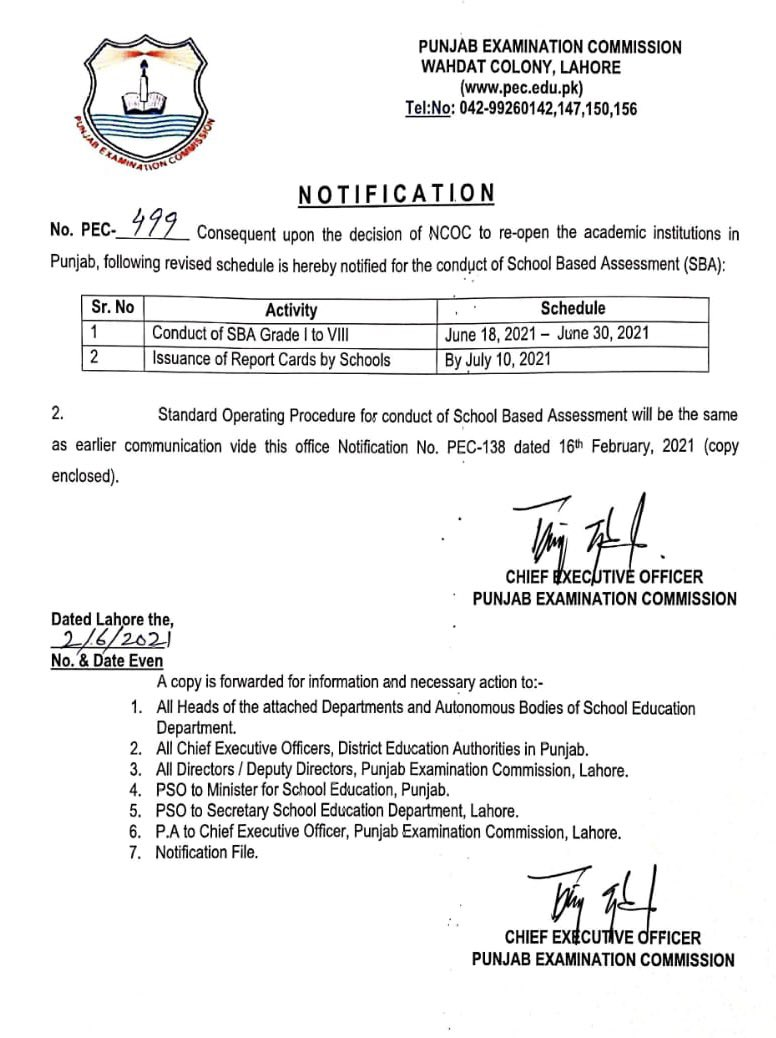 Revised Schedule of School Based Assessment 2021