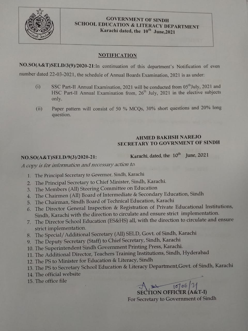 Sindh Boards Revised Exams Schedule 2021
