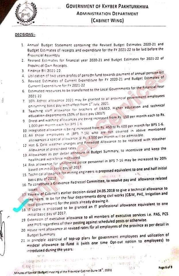 Upcoming Adhoc Relief Allowance 2021 and Many Other Allowances KPK