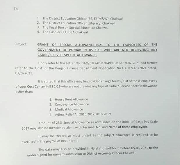 Change Forms for Grant of Special Allowances 2021 Punjab