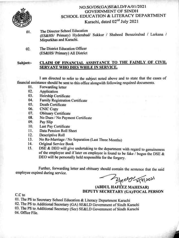 Check List for Claiming Financial Assistance to the Family
