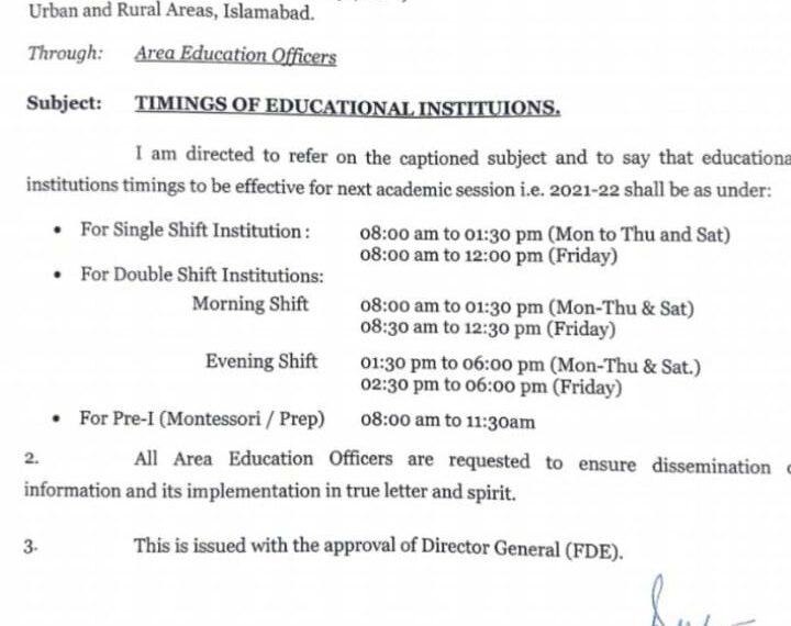 Educational Institutions Timings Session 2021-22 Federal