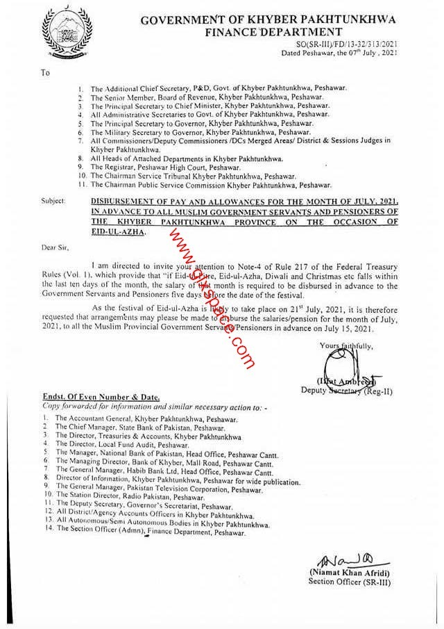 Notification Pay Pension KPK in Advance on 15th July 2021