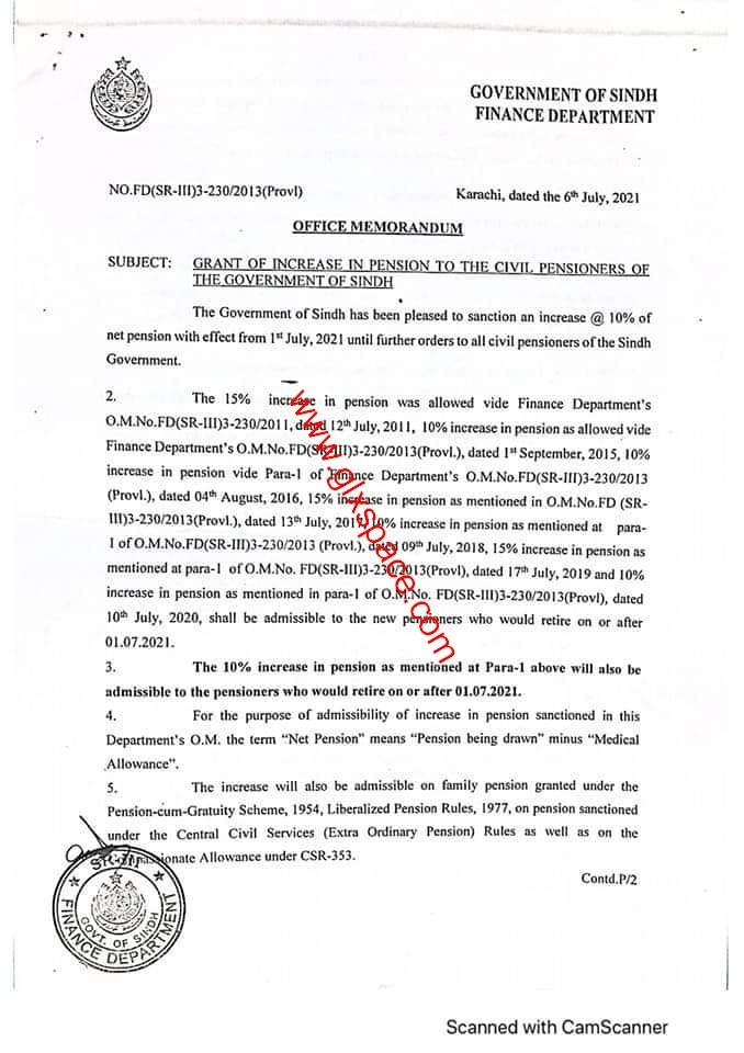 Notification of Increase in Pension 2021 Sindh Pensioners