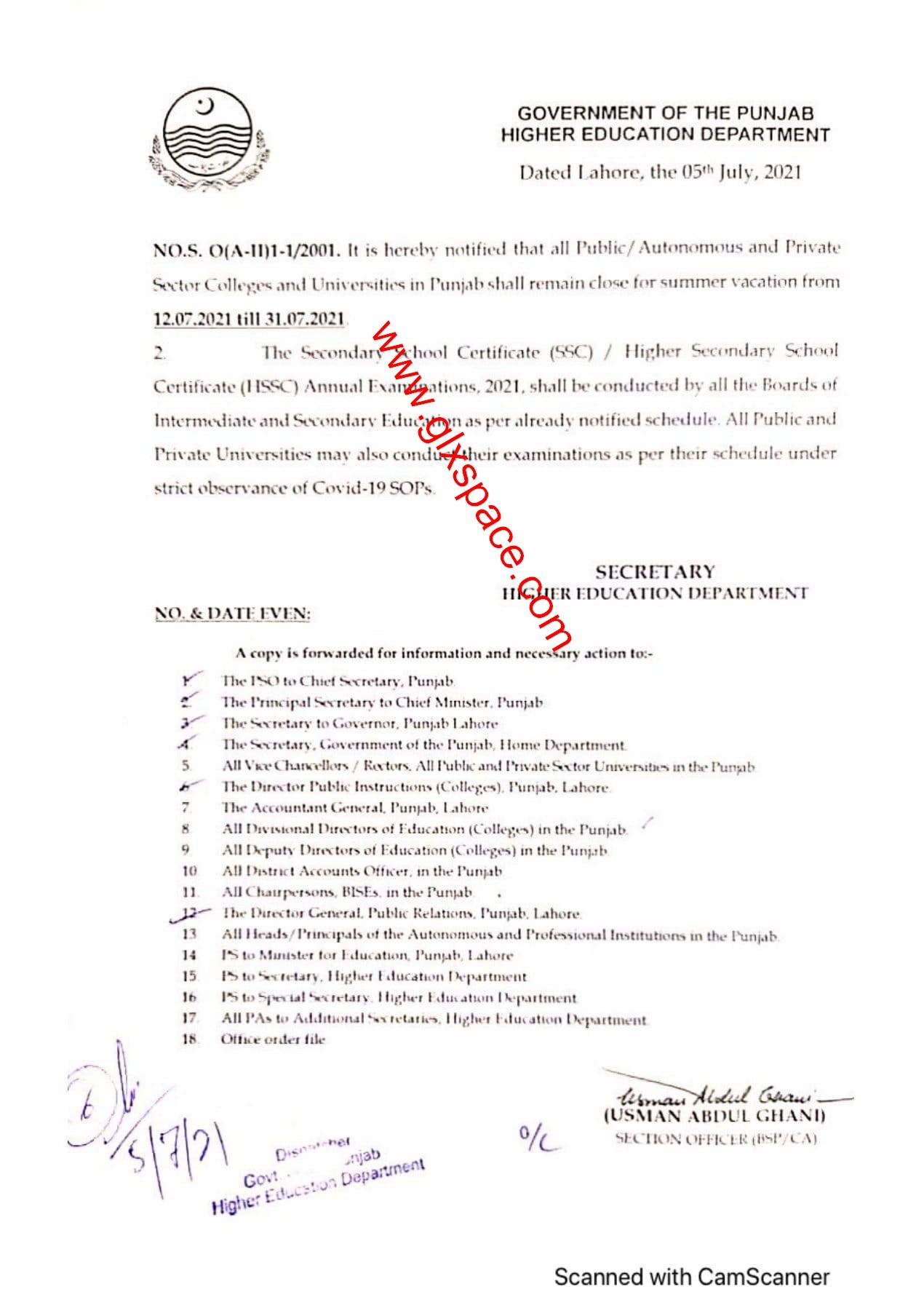 Notification of Summer Vacation 2021 Colleges and Universities Punjab