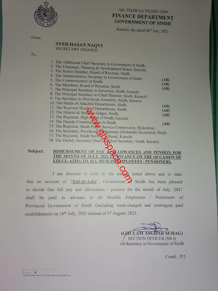 Pay and Allowances July 2021 in Advance Sindh