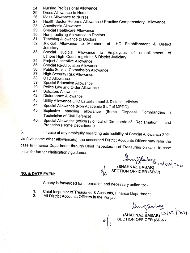 Clarification by Finance Department Punjab Special Allowance 2021