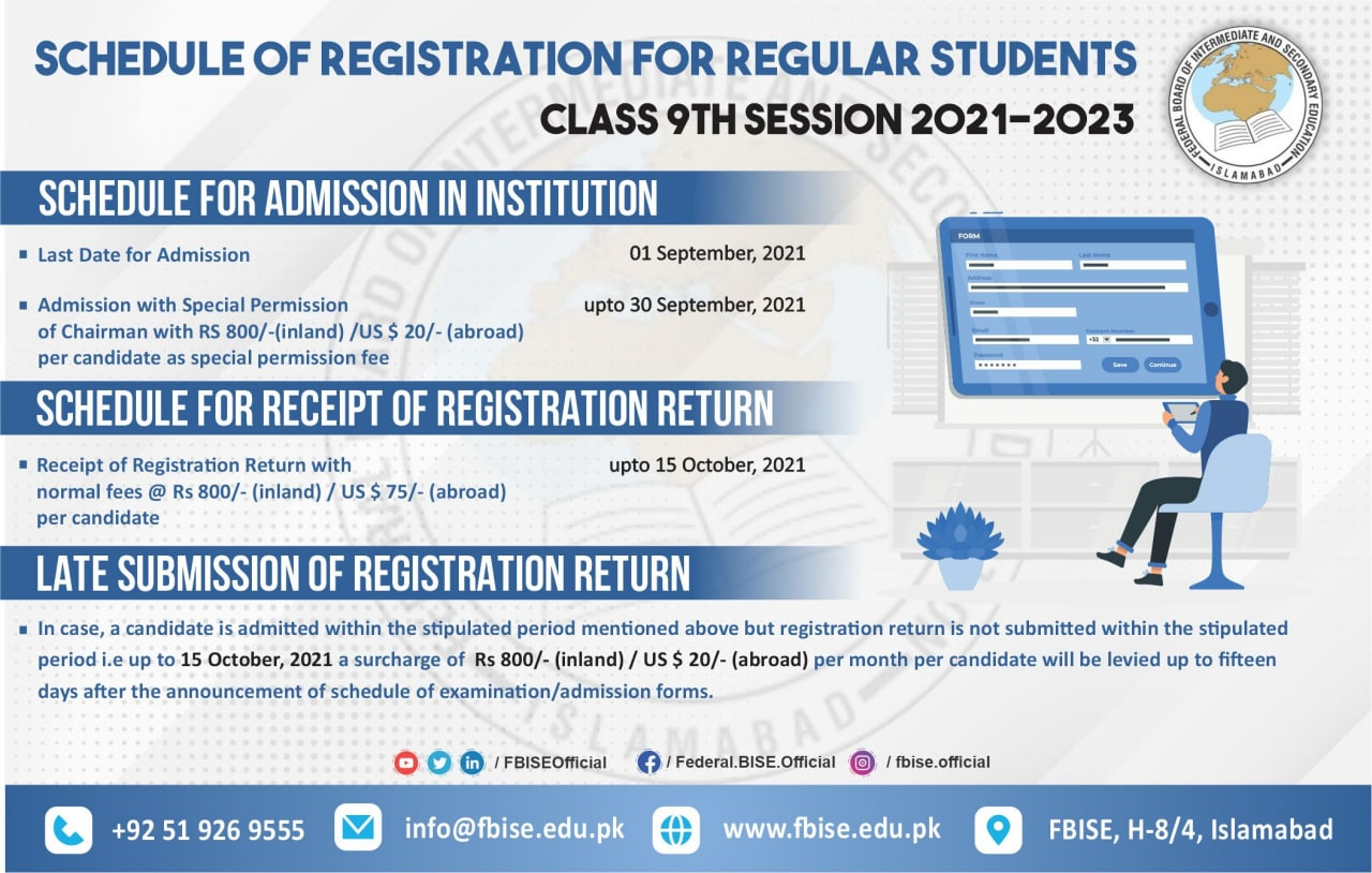 FBISE Schedule of Registration SSC-I (9th Class) 2021-23