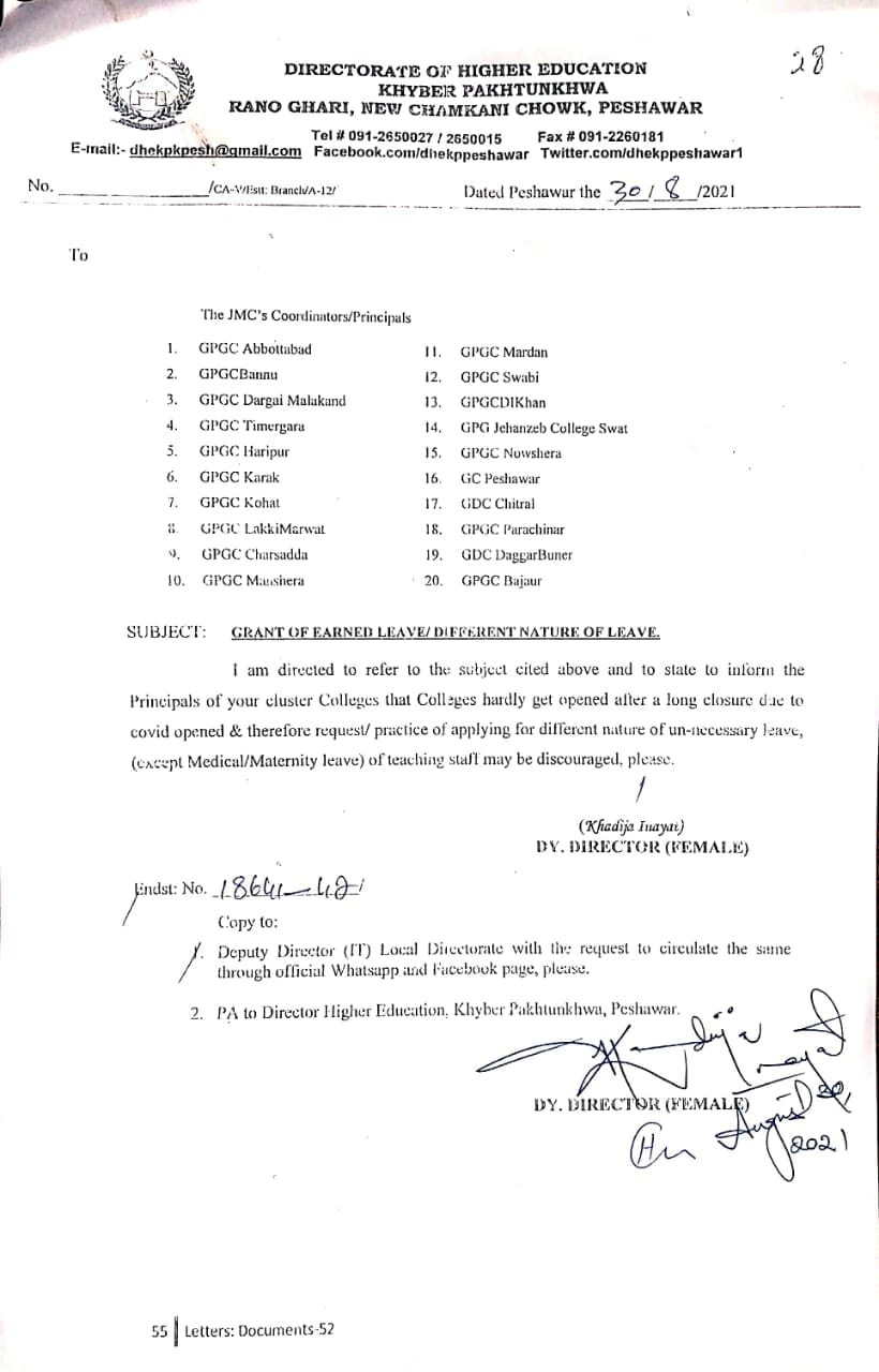 Grant of Earned Leave Different Nature of Leave KP