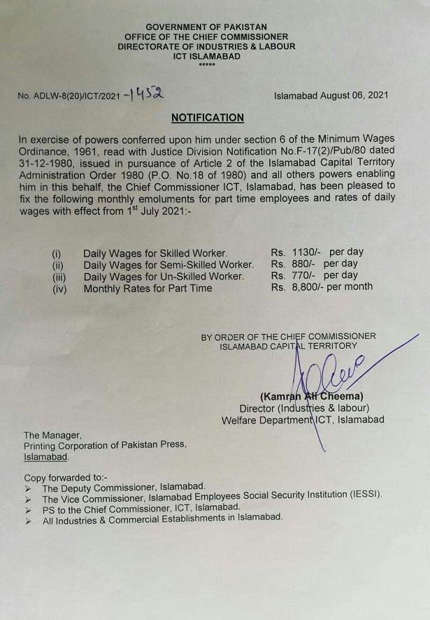 Notification of Daily Wages, Monthly Rates for Part Time ICT