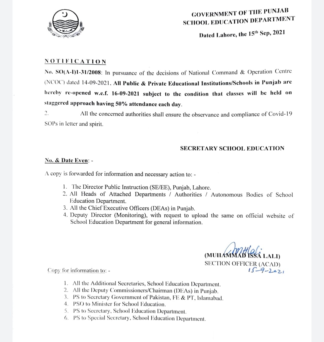 Notification of Opening All Punjab Schools wef 16th Sep 2021